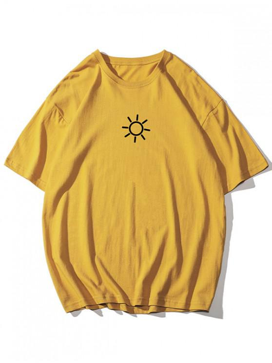 unique Sun Graphic Basic T-shirt - YELLOW 4XL
