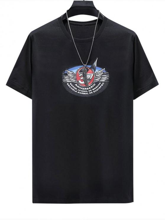Letter Wings Printed Short Sleeves T-shirt - أسود 2XL
