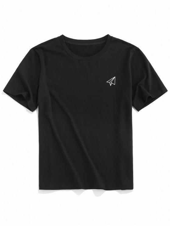 ZAFUL Tiny Paper Plane Print Basic T-shirt - أسود 2XL