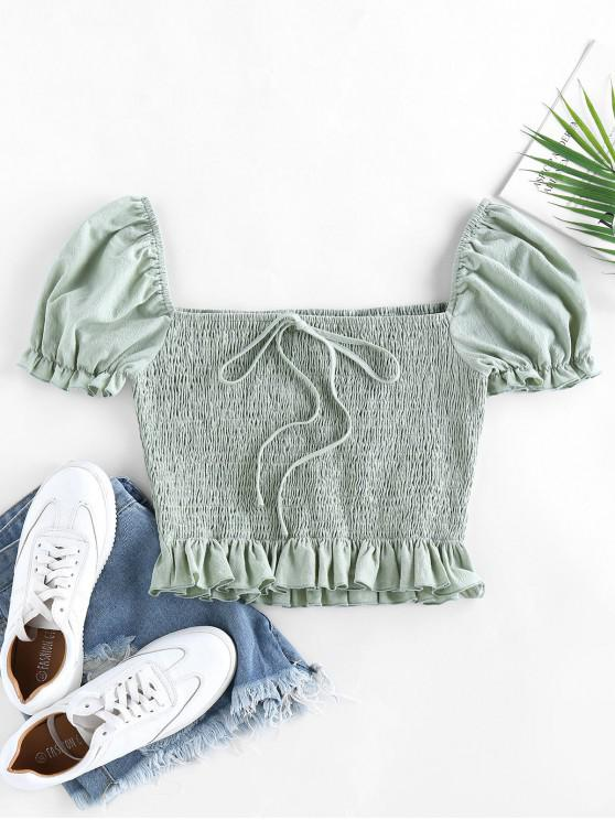 womens ZAFUL Smocked Bowknot Puff Sleeve Ruffle Blouse - LIGHT GREEN M