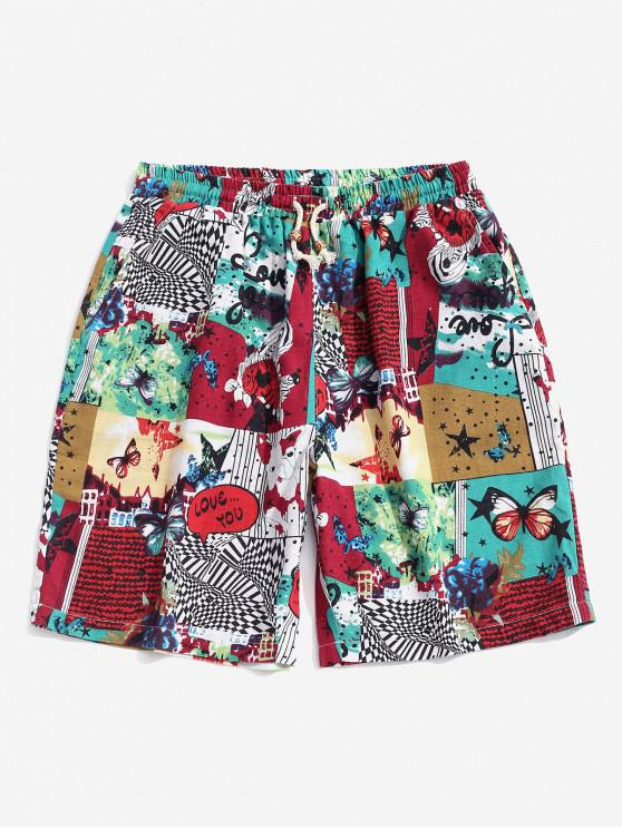 Drawstring Colorful Butterfly Pattern Shorts - أحمر XL