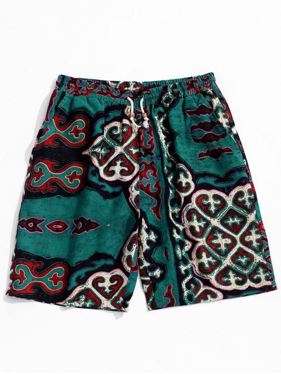 Drawstring Retro Geometry Pattern Casual Shorts - سلحفاة البحر الخضراء XL