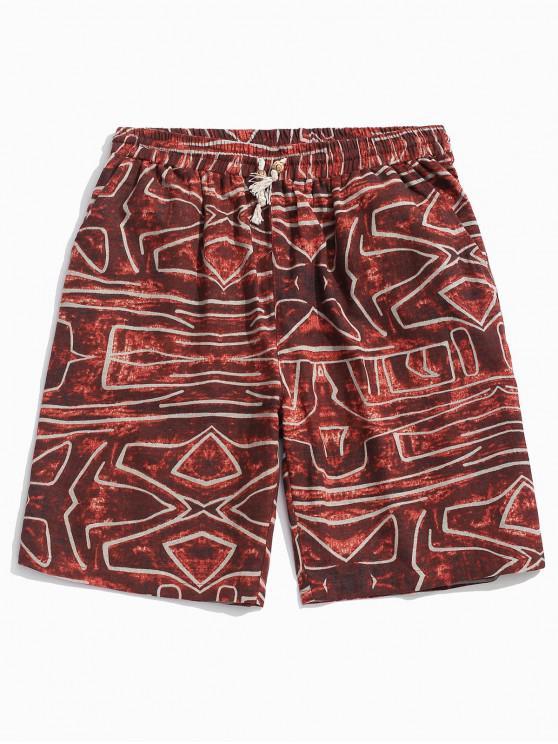 Drawstring Geometric Figure Print Shorts - أحمر M