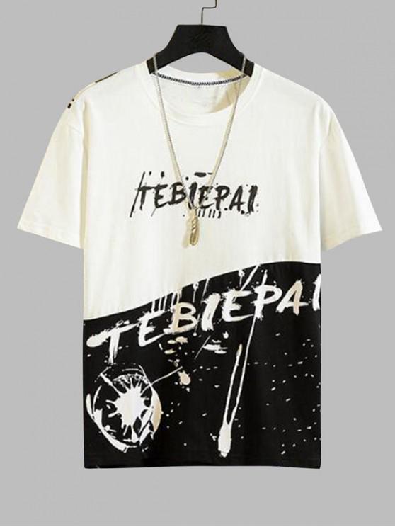 カジュアル文字柄ラウンドネックTシャツ - 白 XS