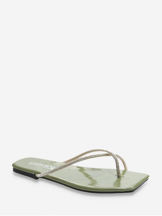 online Rhinestone Trim Toe Post Flat Slides - GREEN EU 40