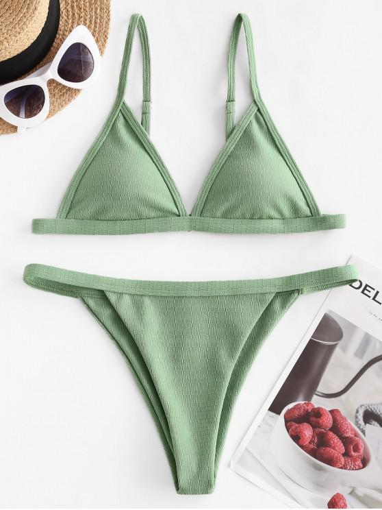 womens ZAFUL High Leg Textured Padded Bikini Swimwear - GREEN PEAS M