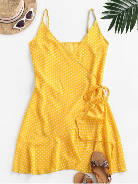 unique Polka Dot Spaghetti Strap Wrap Dress - YELLOW XS