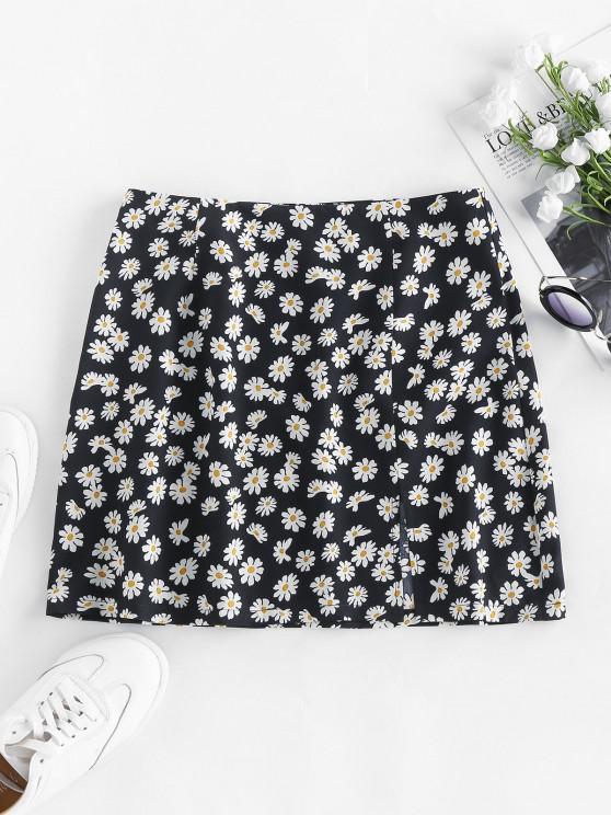 women ZAFUL Flower Print Slit Mini Skirt - BLACK M