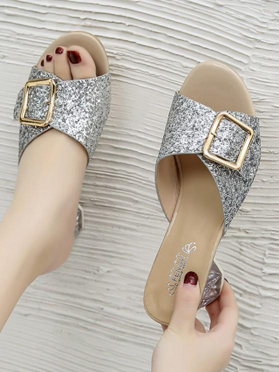 best Glitter Sequins Buckled Clear Heel Slides - SILVER EU 38
