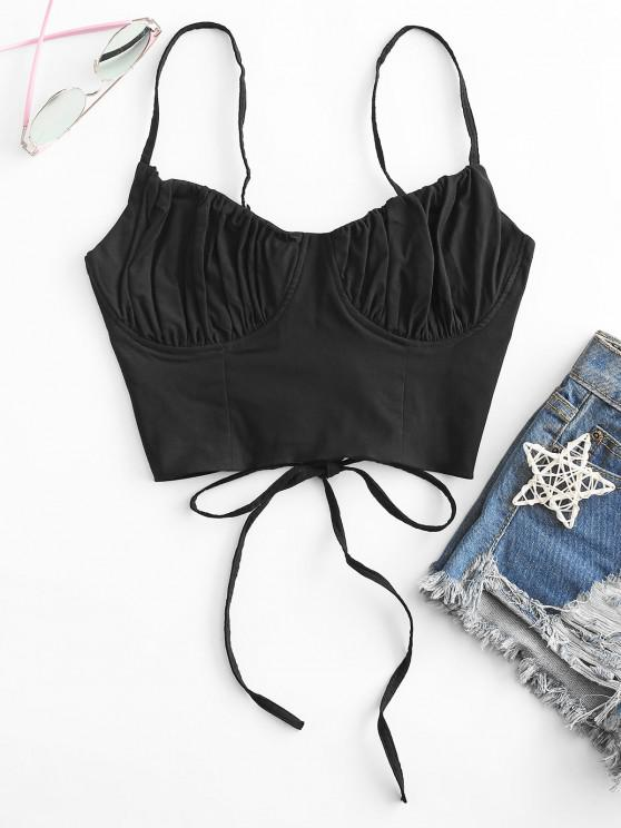 best Ruched Lace-up Bustier Cami Top - BLACK S