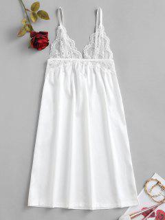 Robe De Nuit à Bretelle Panneau En Dentelle En Satin - Blanc M