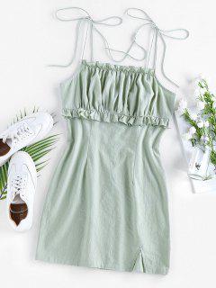 ZAFUL Ruched Ruffle Slit Tie Shoulder Dress - Light Green S