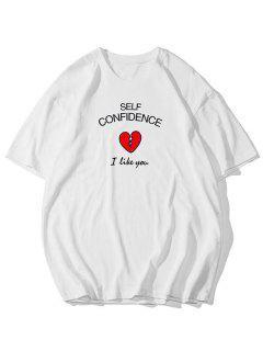 T-shirtde BaseGraphique CœurImprimé - Blanc 4xl