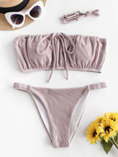 ZAFUL Bikini Acanalado De Cintura Baja - Rosa Khaki S