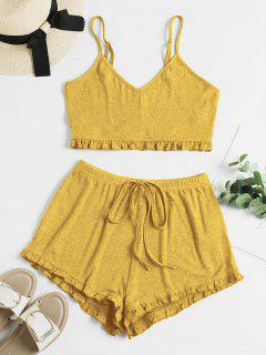 ZAFUL Frilled Ribbed Tie Cami Two Piece Set - Bee Yellow L