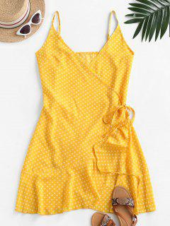 Polka Dot Spaghetti Strap Wrap Dress - Yellow M