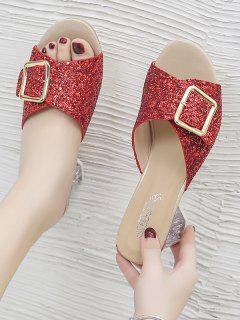 Glitter Sequins Buckled Clear Heel Slides - Chestnut Red Eu 41