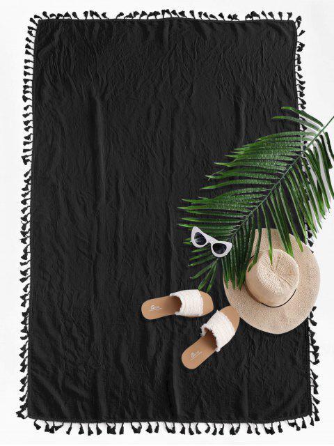 womens Semi-sheer Rectangle Tassel Sunbath Beach Throw Cover - BLACK ONE SIZE Mobile