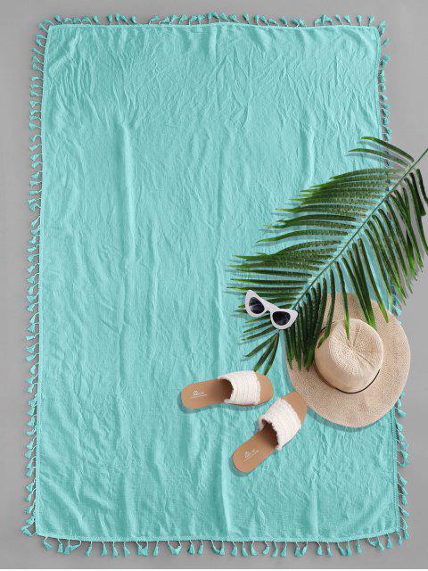 Manta de Playa Rectangular Diesño Impreso Borlas - Turquesa Mediana Talla única Mobile