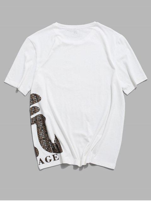 ZAFUL Courage Oriental Print Basic T-shirt - أبيض 2XL Mobile