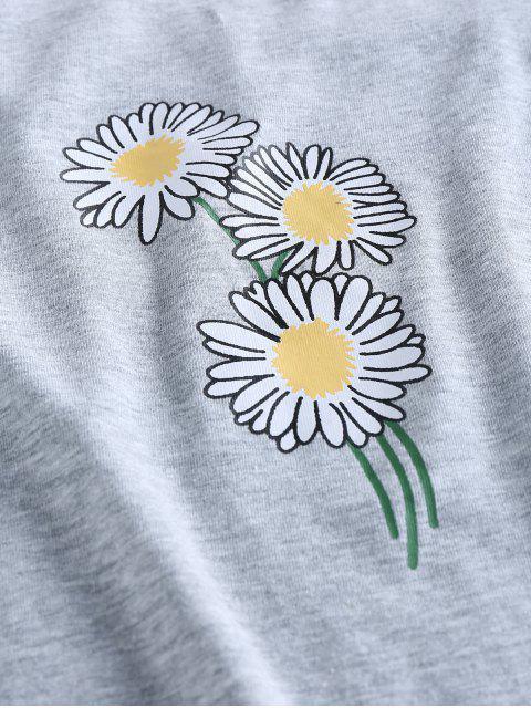 ZAFUL Top Cami Estampa Floral Cortado - Cinza claro L Mobile