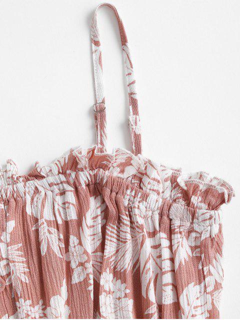 trendy Leaf Print Crinkly Frilled Bandeau Dress - PINK S Mobile