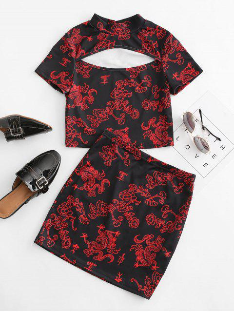 affordable Oriental Floral Dragon Print Cutout Two Piece Dress - BLACK L Mobile