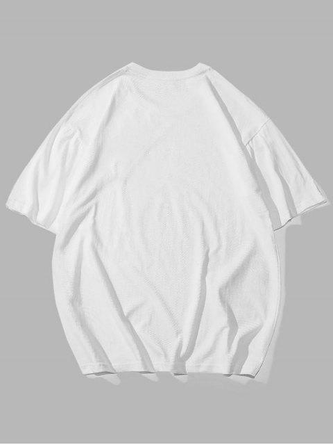 Aufwallung Brief Grafik Basic T-Shirt - Weiß 3XL Mobile