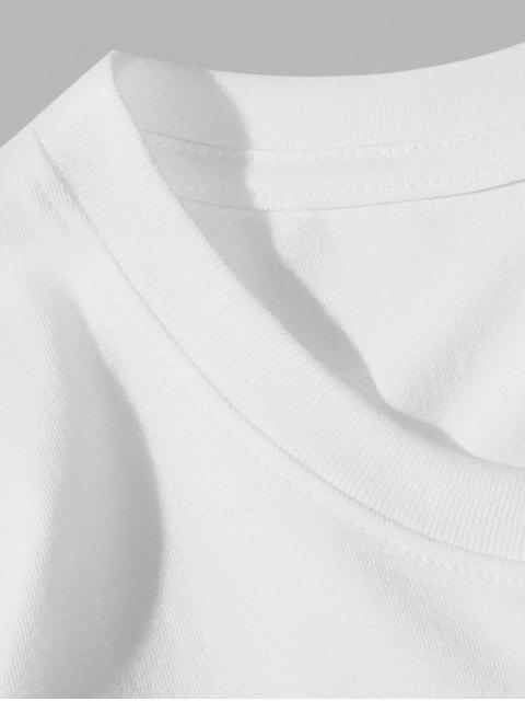 T-Shirt Basic con Grafica di Lettere - Bianca 4XL Mobile
