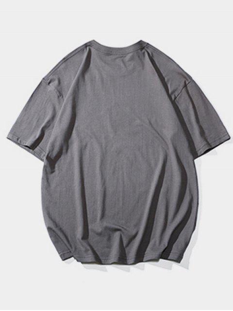 T-Shirt Basic con Grafica di Lettere - Grigio Scuro 2XL Mobile