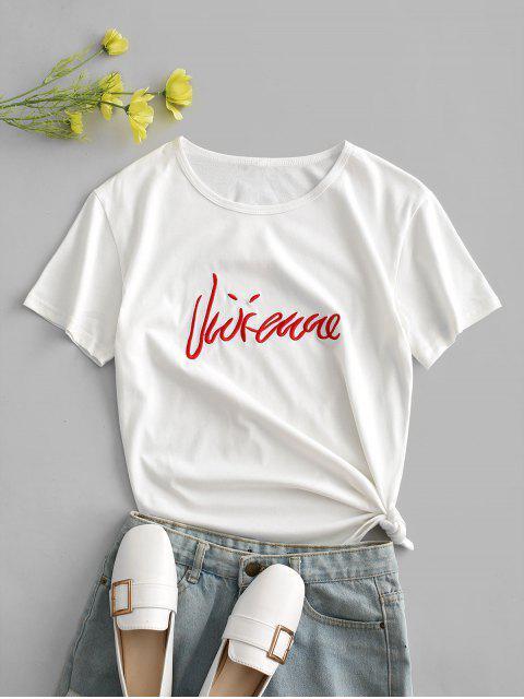 T-Shirt Ricamata a Lettere con Maniche Corte di ZAFUL - Bianca XL Mobile