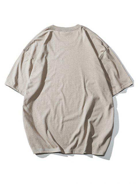 trendy Basic Letter Graphic Print T-shirt - LIGHT KHAKI 4XL Mobile