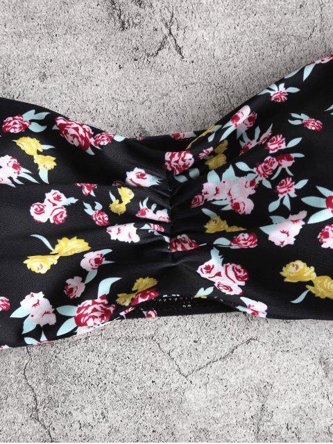 ZAFUL Costume da Bagno Bikini a Fascia con Stampa Incrociata Ditsy - Bianca S Mobile