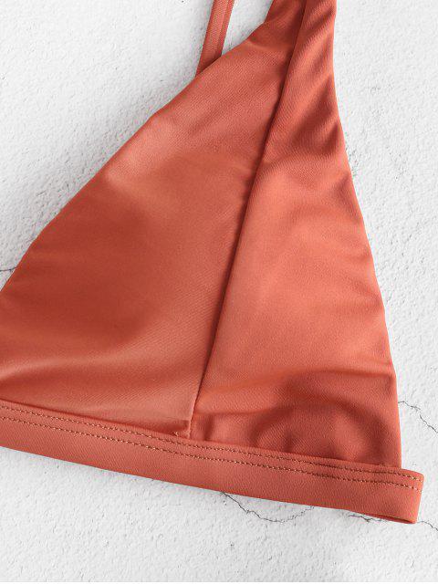 online ZAFUL Sunflower High Leg Bikini Swimwear - CHERRY RED S Mobile