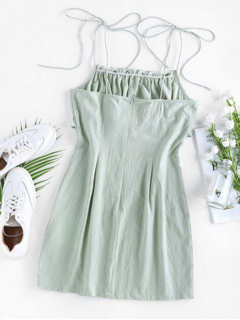 ladies ZAFUL Ruched Ruffle Slit Tie Shoulder Dress - LIGHT GREEN L Mobile