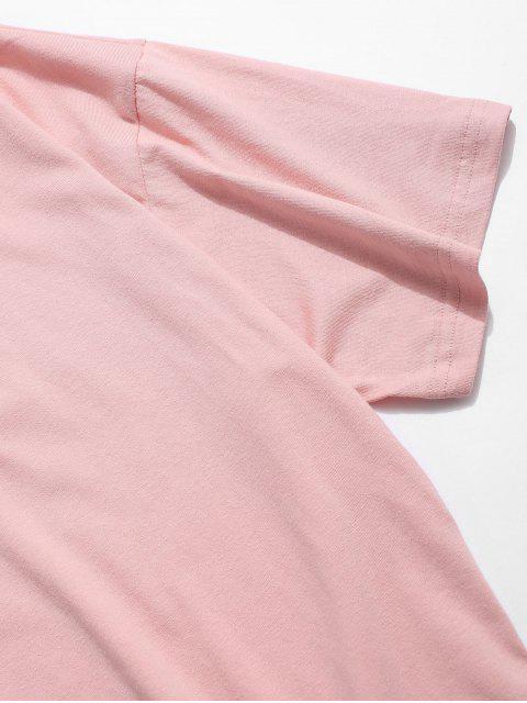 Maglietta Rock da Strada con Grafica di Gatto Dei Cartoni Animati - Rosa Suino 4XL Mobile