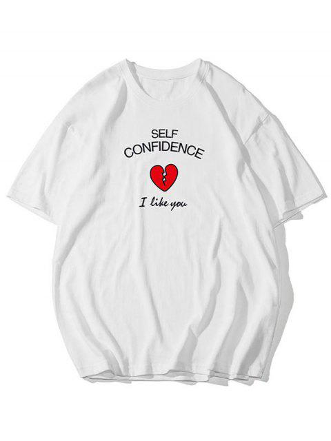 Self Confidence Heart Graphic Basic T Shirt - أبيض 3XL Mobile