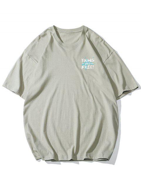 outfits Young and Free Print Basic T-shirt - LIGHT KHAKI 4XL Mobile