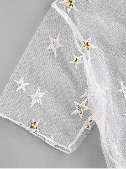 women ZAFUL Sequined Star Mesh Low Waisted Three Pieces Bikini Swimwear - WHITE S Mobile