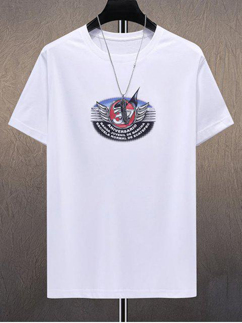 Letter Wings Printed Short Sleeves T-shirt - أبيض 2XL Mobile