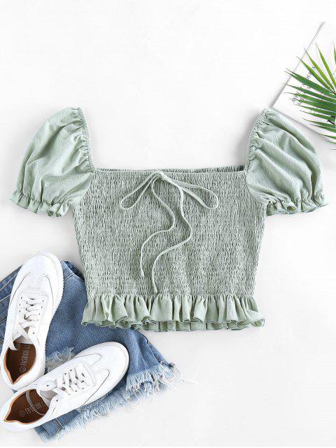 hot ZAFUL Smocked Bowknot Puff Sleeve Ruffle Blouse - LIGHT GREEN XL Mobile