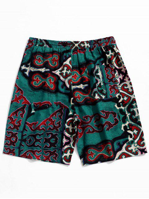 outfits Drawstring Retro Geometry Pattern Casual Shorts - SEA TURTLE GREEN XL Mobile