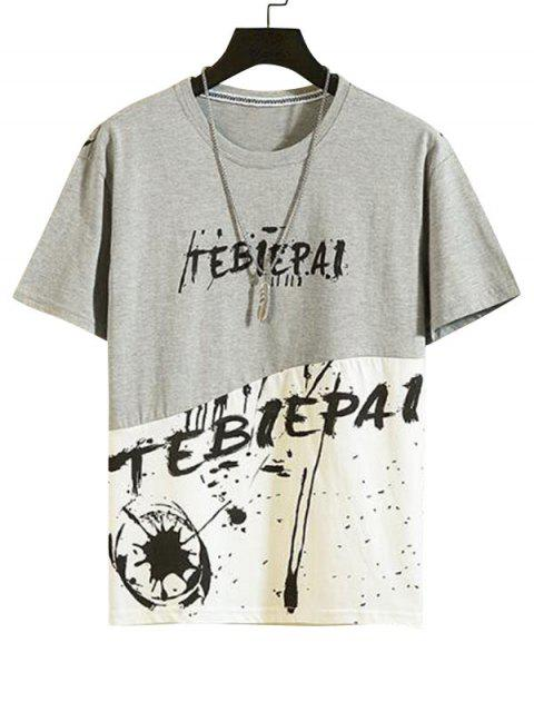Casual Letter Graphic Print Round Neck T-shirt - سحابة رمادية L Mobile