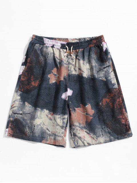 Drawstring Ink and Wash Pattern Casual Shorts - أسود L Mobile