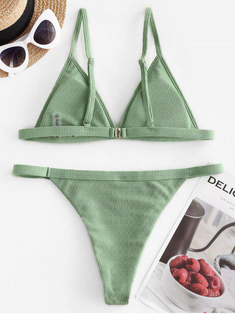 women ZAFUL High Leg Textured Padded Bikini Swimwear - GREEN PEAS L Mobile