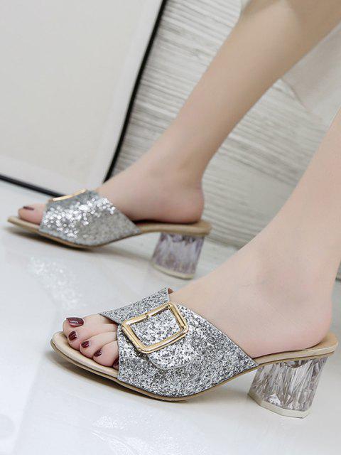 Glitter Pailletten Schnallen Klare Pantoffel - Silber EU 38 Mobile