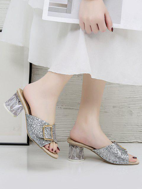 women's Glitter Sequins Buckled Clear Heel Slides - SILVER EU 41 Mobile