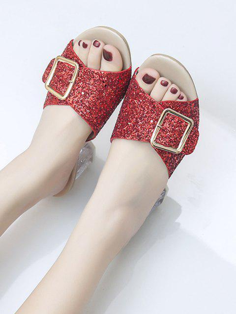 women Glitter Sequins Buckled Clear Heel Slides - CHESTNUT RED EU 38 Mobile