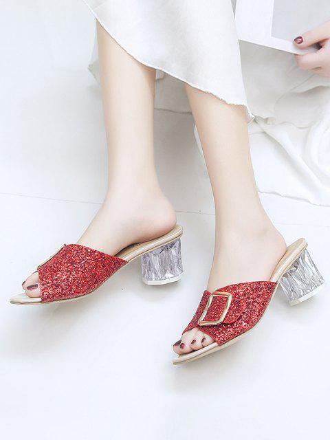 womens Glitter Sequins Buckled Clear Heel Slides - CHESTNUT RED EU 39 Mobile