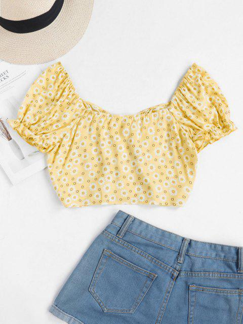 sale ZAFUL Tiny Floral Crop Milkmaid Blouse - YELLOW M Mobile